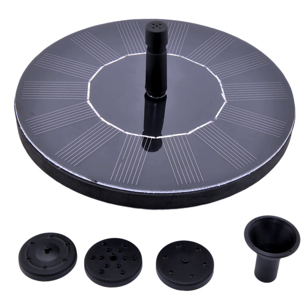 Floating solar powered fountain pump living green and for Solar pond pump